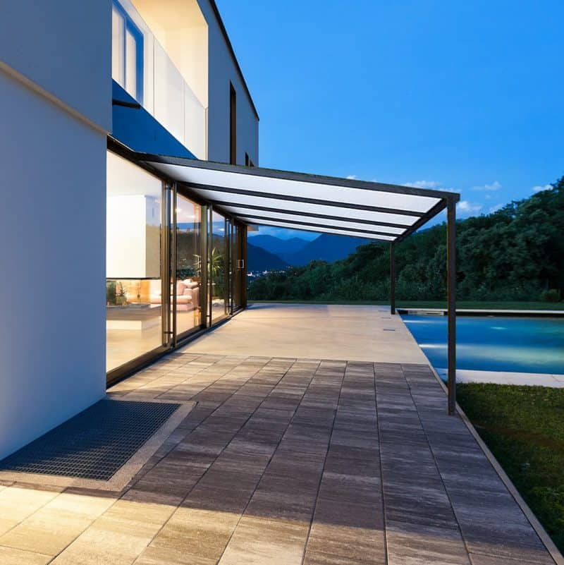 outdoor canopy and swimming pool