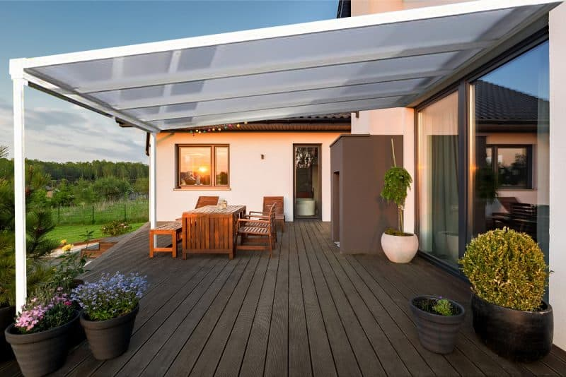 patio canopy and decking