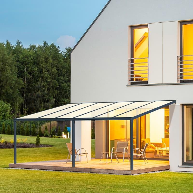 square canopy lit veranda